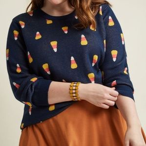 Modcloth Candy Corn Novelty Intarsia Sweater 2X